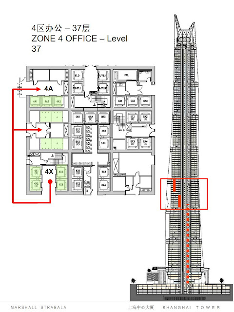 Elevator system of zone 4 in Shanghai Tower