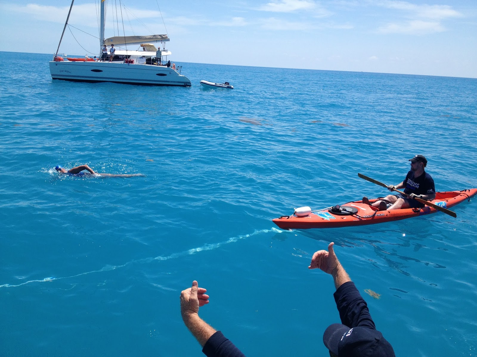 Diana Nyad swims a few miles off Key West. photo credit: Dawn Blomgren
