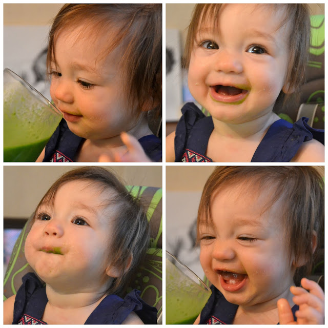 Baby loves green smoothie