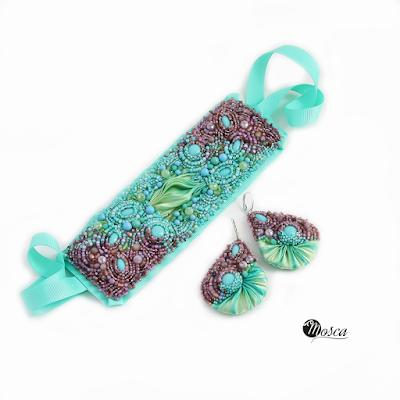 komplet biżuterii jedwab shibori