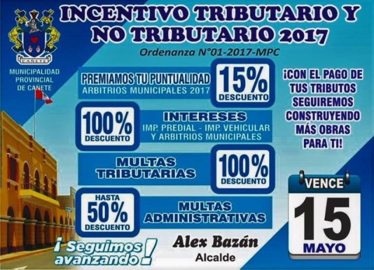 Incentivos Tributarios hasta el 15 de mayo en la Municipalidad Provincial de Cañete