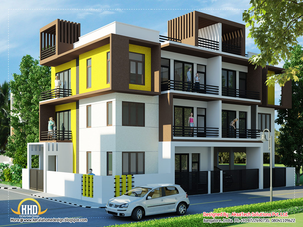 Home Front Elevation For 3 Floors : Modern contemporary home elevations kerala design
