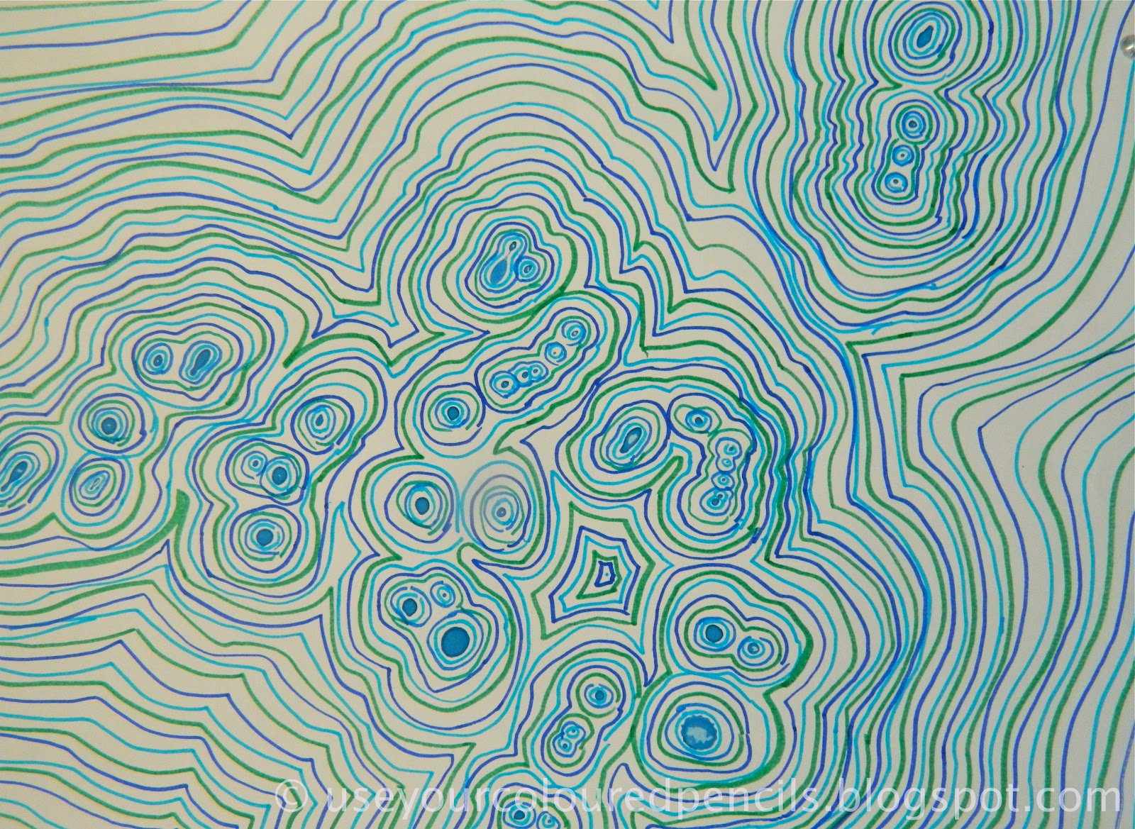 Contour Line Drawing With Color : Use your coloured pencils aboriginal inspired line drawings