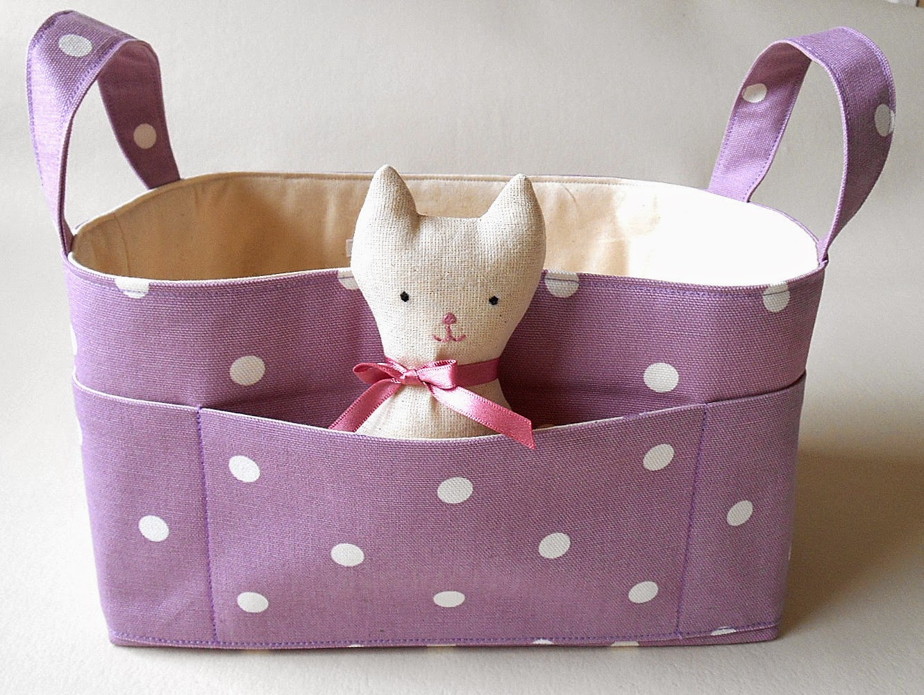 nursery storage fabric basket with pocket cat