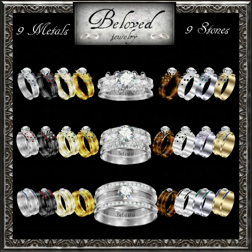 9 Channel Set Stones Texture Change Ladies 39 Wedding Ring Combo and Men 39s