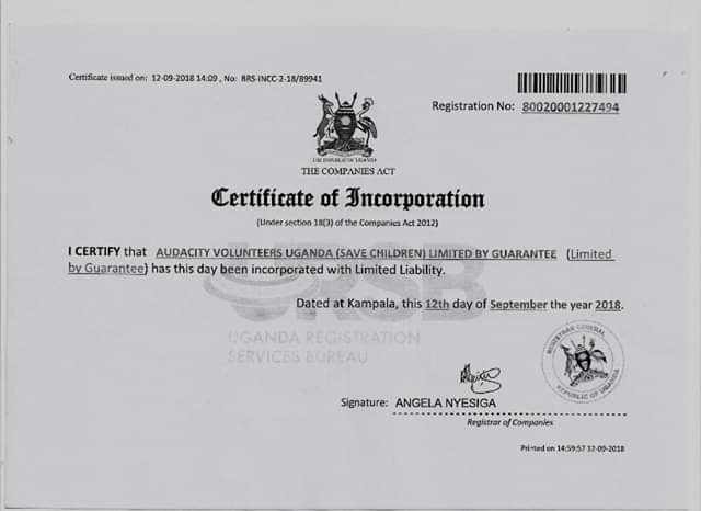 We are a Registered organization and below is the certificate