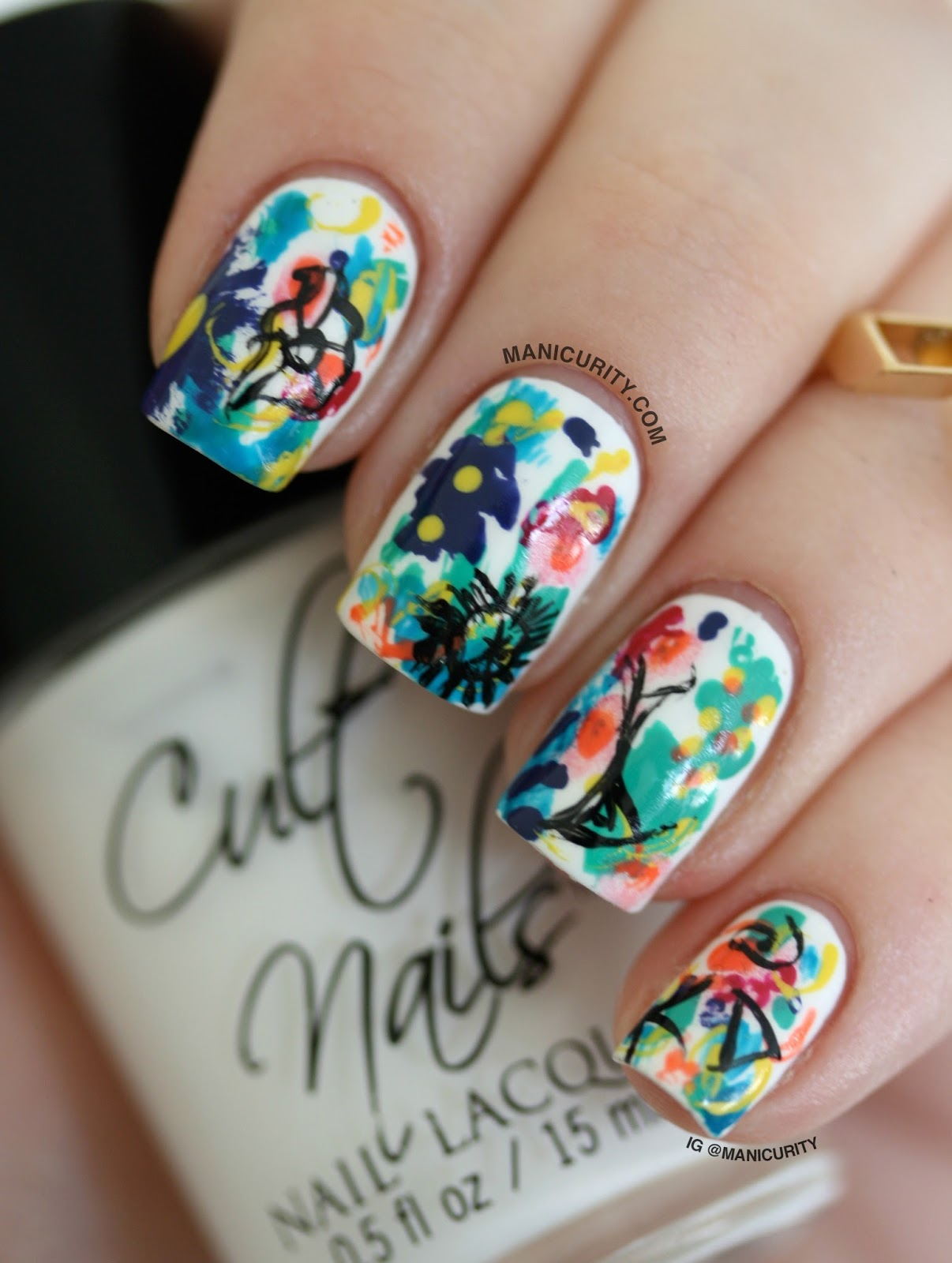 Manicurity | Introducing The Lazy Blogger's 31 Day Challenge with an Impressionist Floral Freehand Mani!