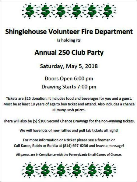 5-5 Shinglehouse VFD Annual 250 Club Party