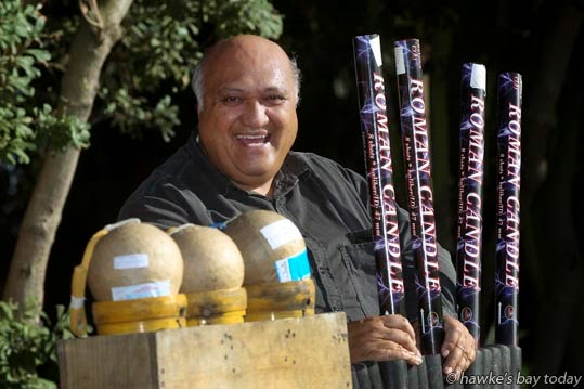 Te Rangi Huata, pyrotechnician, Hastings, with some of his beloved fireworks. photograph
