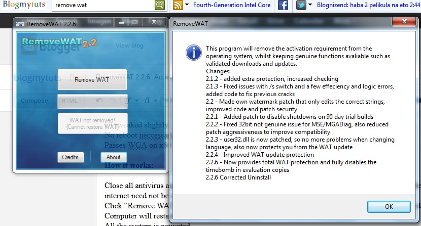 6 Dec 2013 Also try this RemoveWAT 2.2.6 Genuine Activator For Windows 7 Ge
