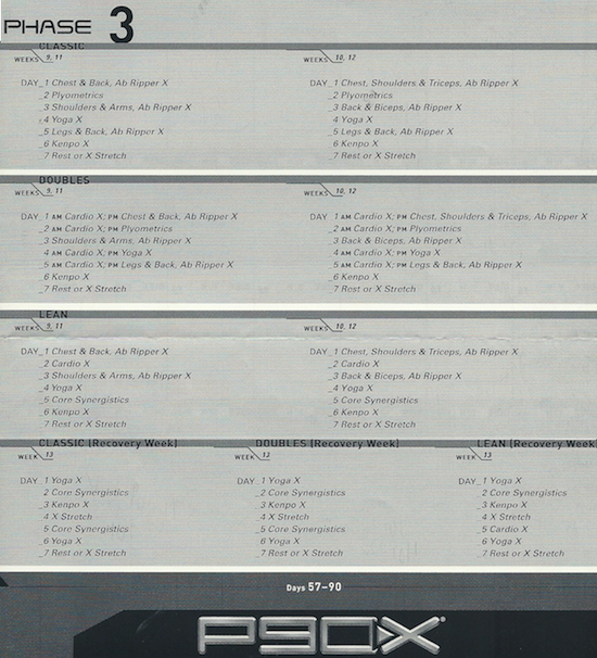 p90x dvd lean workout  p90x classic and lean workout schedule