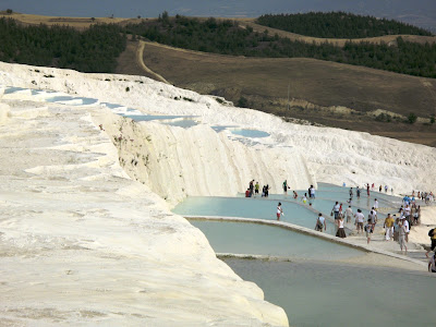 Tourists enjoying the pools at Pamukkale