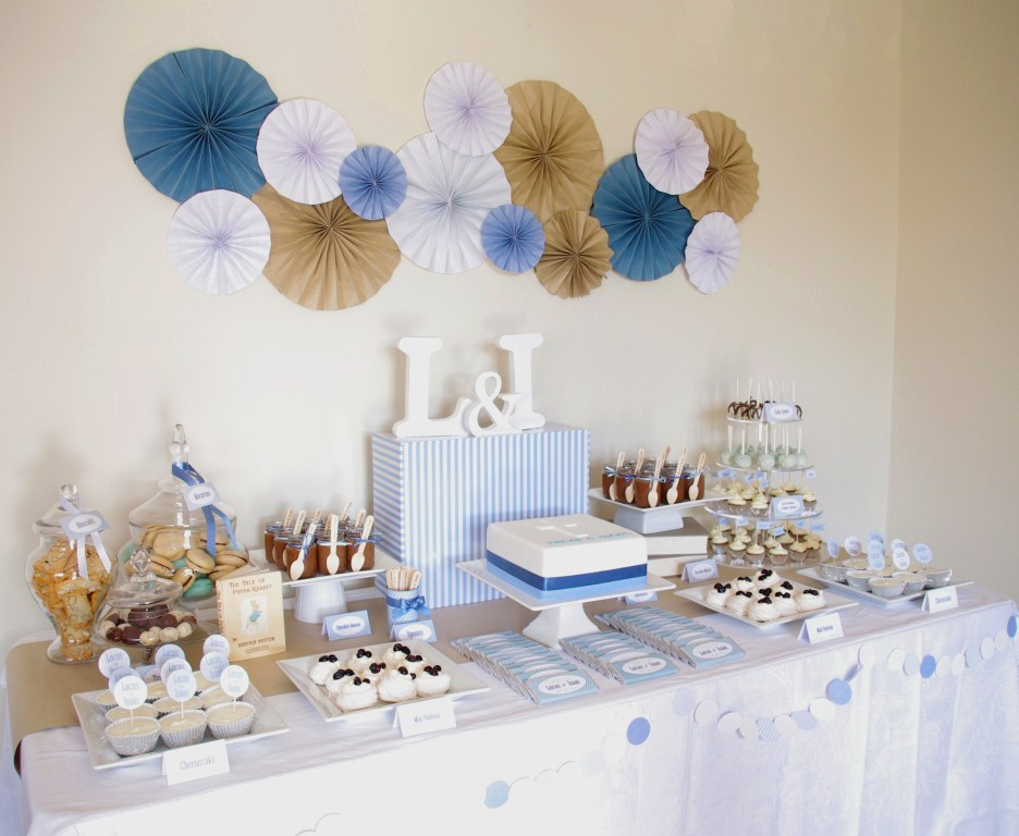 Piece of cake blue brown white christening table for Baby baptism decoration ideas
