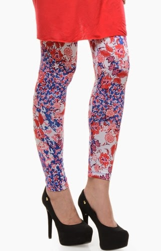 Printed and embroidered tights