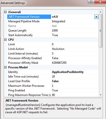 .net framework version in iis