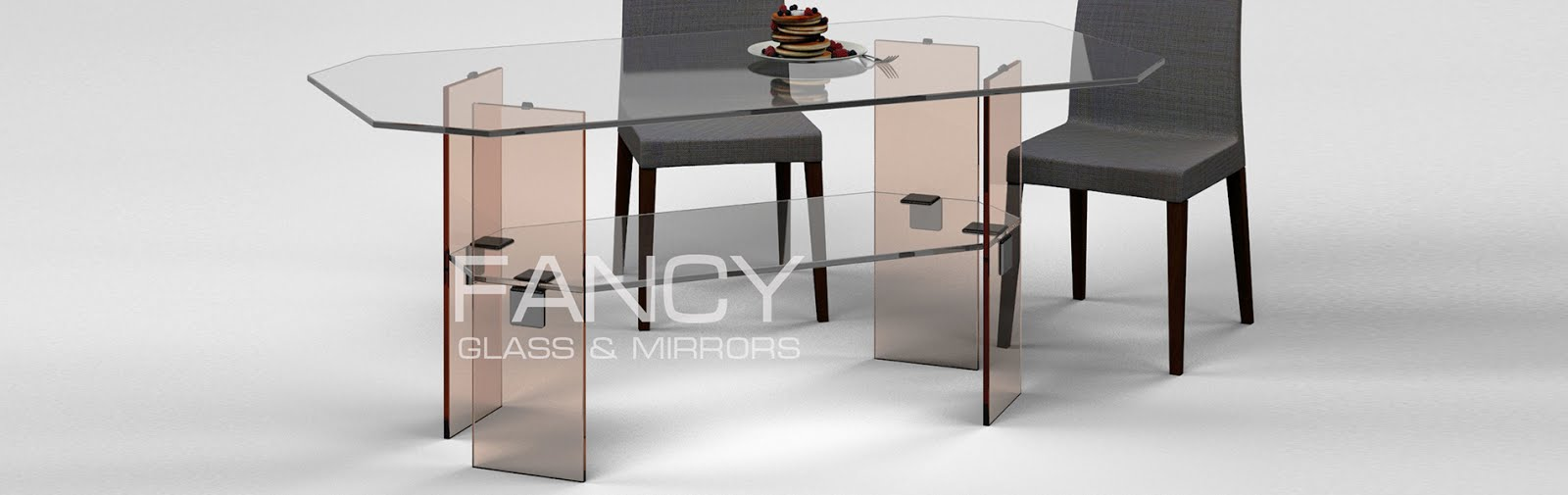 Rectangular glass dining table with shelf