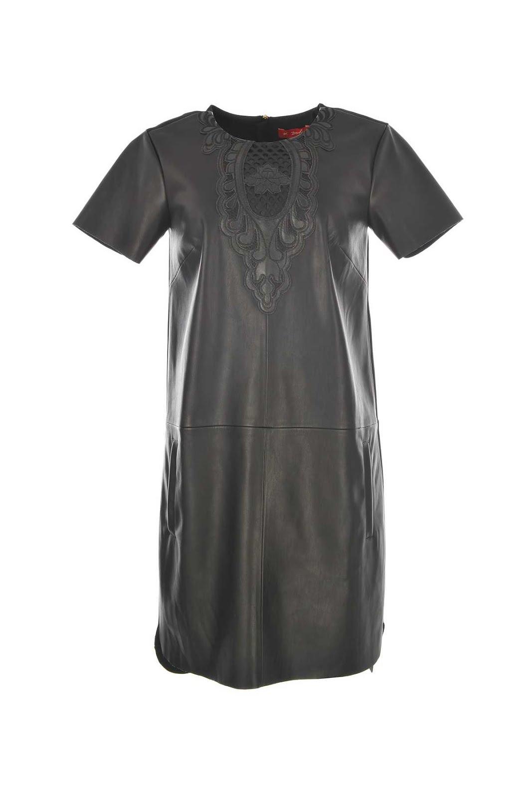 Φορεμα δερματινη με κεντημα