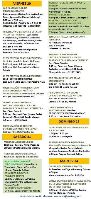 MOVIDA CULTURAL EN PEREIRA, DEL 20 AL 24 DE JULIO DE 2018
