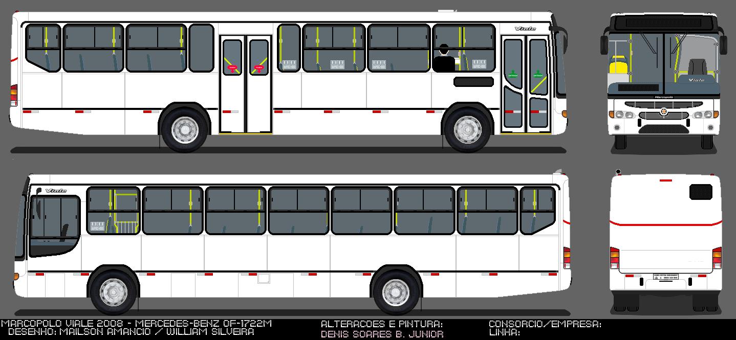 Mercedes Marco Polo 2008 >> Desenhos em Branco   Ônibus de Porto Alegre