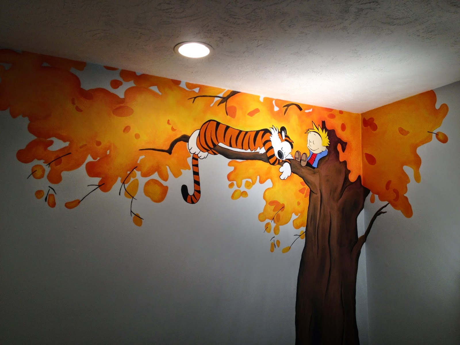 Life is sweet our calvin hobbes mural for the nursery for Calvin and hobbes nursery mural