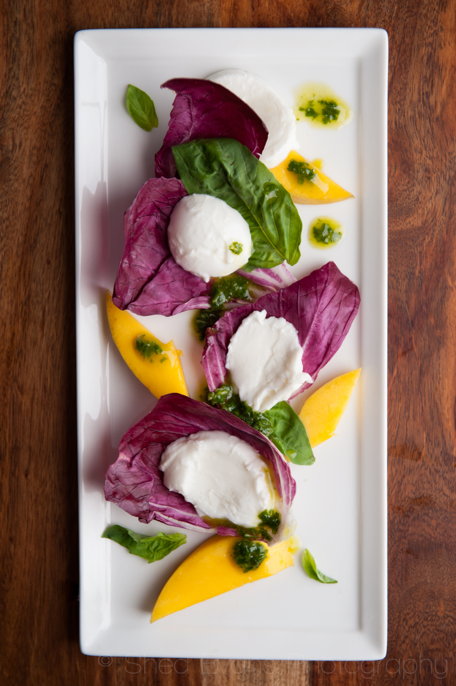 Mango-Radicchio Caprese Salad with White Balsamic Basil Vinaigrette ...