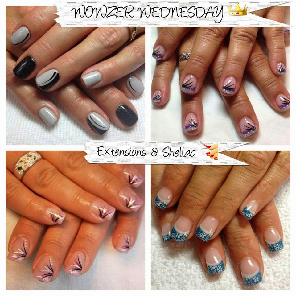 Acrylic extensions fingers and toes with Shellac and BB decals black and orange LED builder natural gel overlay for strength 3D mascara sets and the Magic removal kits