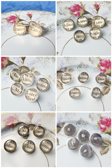 image jane austen pride and prejudice buttons and cufflinks upcycled Mr Darcy Elizabeth Bennet Jane Bingley