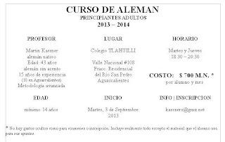 curso de alemán, Aguascalientes, México, principiantes, escuela de alemán, grupo de alemán, adultos, examen, ejercicios, septiembre, 2013, 2014