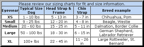 Doggles Sizing Chart: XS for 1 to 10 pound dogs (Head strap & frame = 5 to 13 inches, chin strap = 3 to 7 inches), Small for 9 to 25 pound dogs (Head strap & frame = 12 to 20 inches, chin strap = 4 to 8 inches), Medium for 20 to 60 pound dogs (Head strap & frame = 15 to 25 inches, chin strap = 5 to 11 inches), Large for 50 to 100 pound dogs (Head strap & frame = 18 to 30 inches, chin strap = 6 to 15 inches), XL for dogs over 100 pounds (Head strap & frame = 22 to 45 inches, chin strap = 11 to 26 inches)