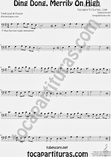 Partitura de Ding Dong, Merrily On High para Trombón, Tuba Elicón y Bombardino by Sheet Music for Trombone, Tube, Euphonium Music Scores