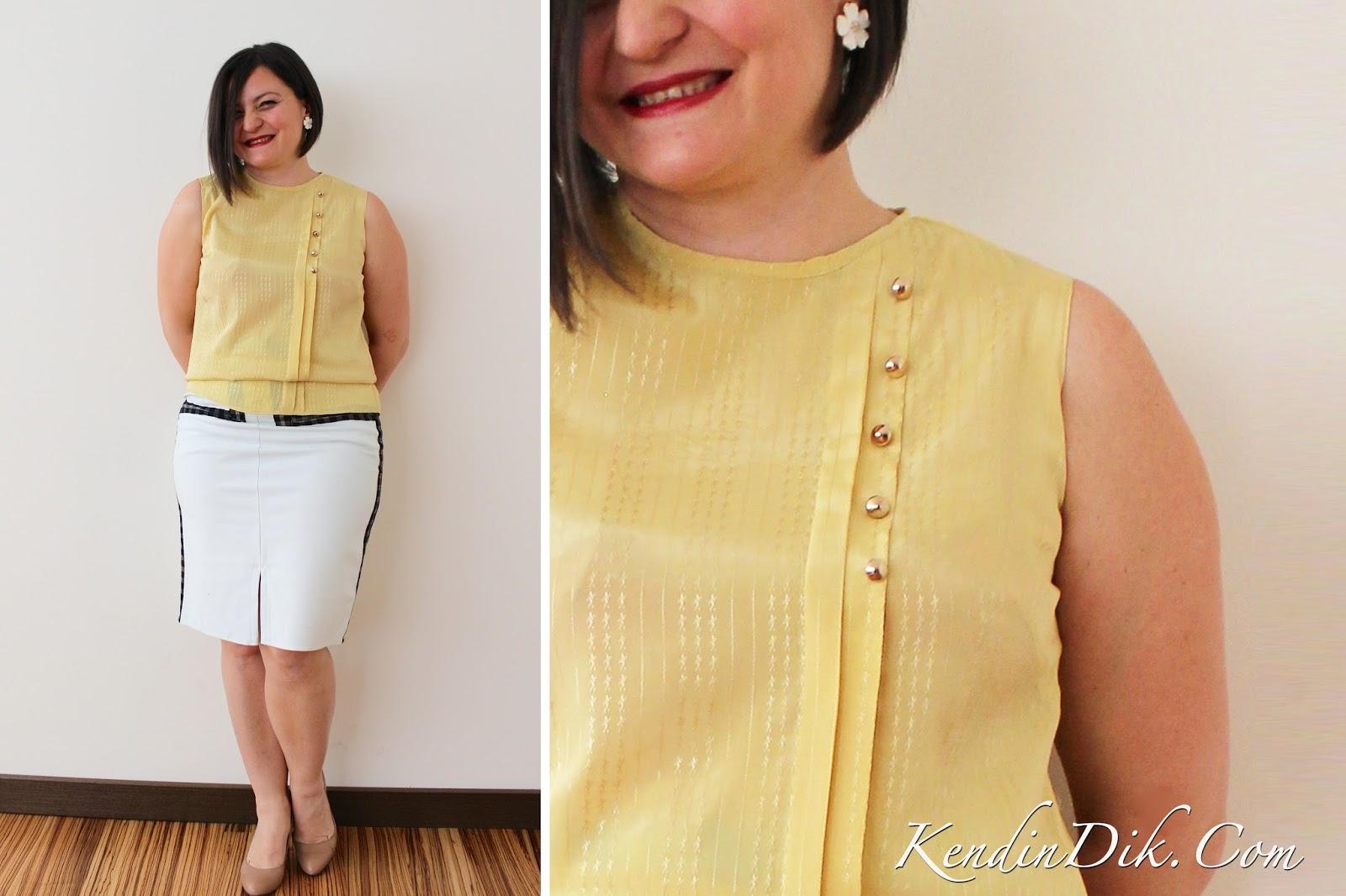 moda blog, ipek bluz, kolsuz, metal aksesuarlar, sarı ipek