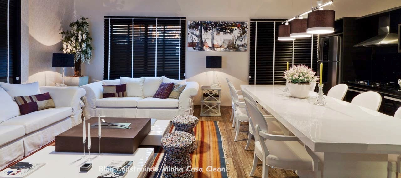 Sala De Estar Toda Branca ~ sala toda branca14 Sala branca, com sofás e mesa de jantar branca