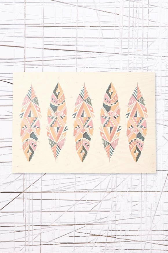 Feathers wooden art print A3 - Urban Outfitters