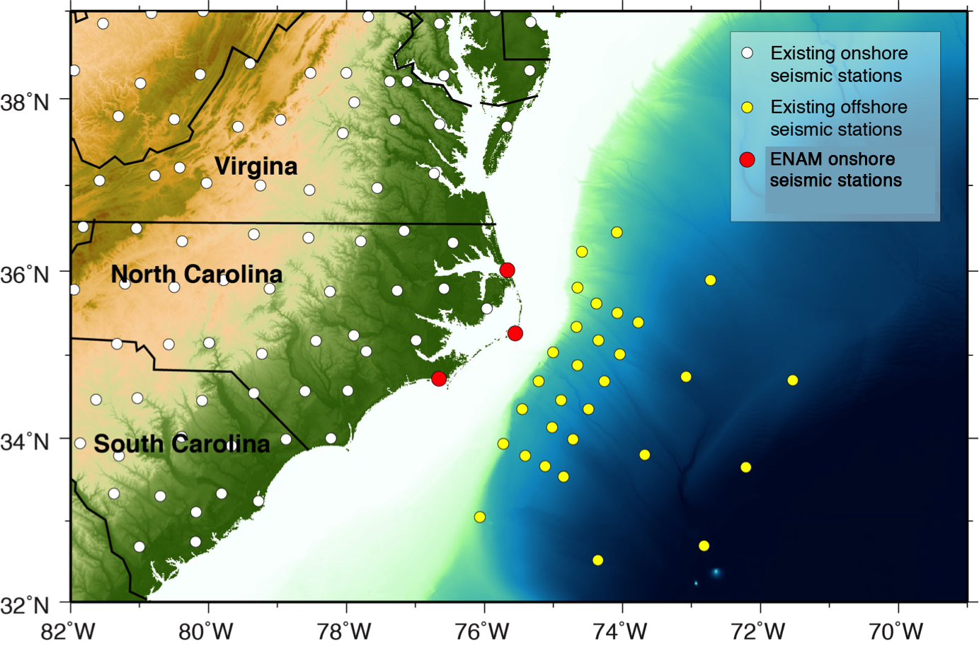 map showing the locations of existing usarray seismic stations white enam offshore seismic stations yellow and enam onshore seismic stations red