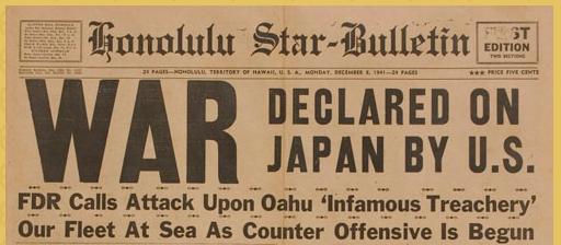 fdr declares war on japan