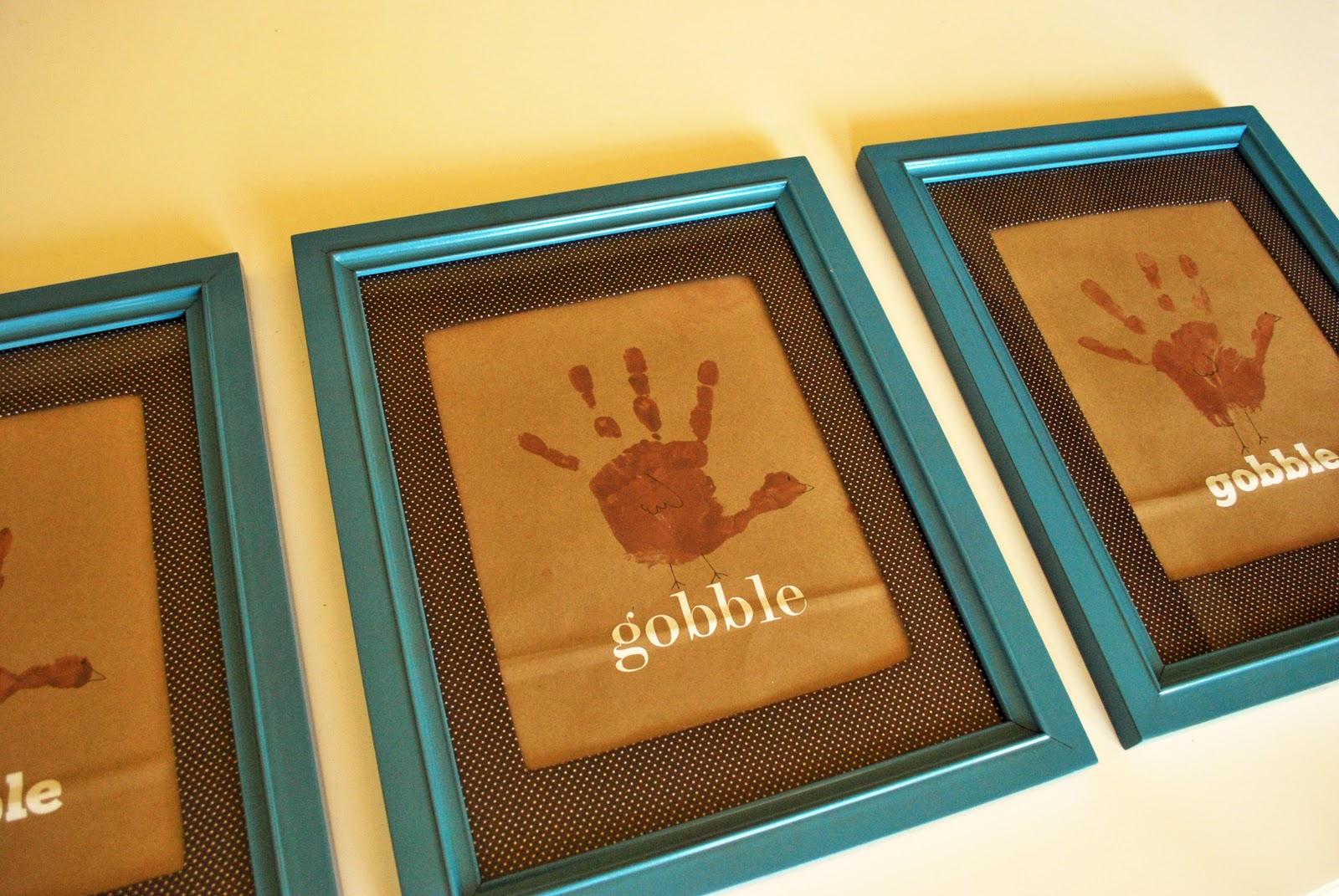 Larissa Another Day Framed Turkey Hand Prints Tutorial