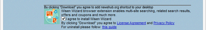 How WisenWizard is disclosed in the installer