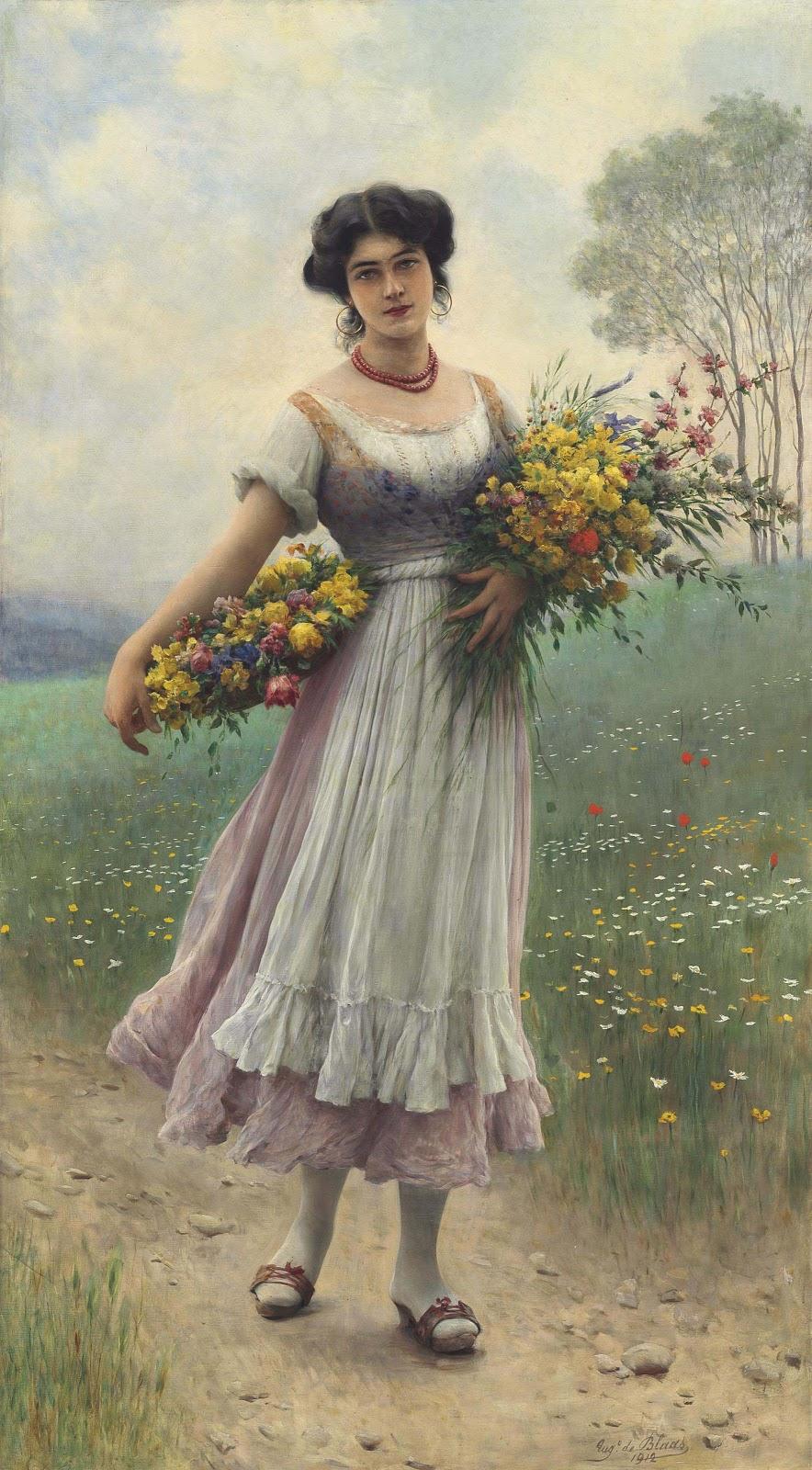 Eugene de  laas A maiden gathering flowers Christies