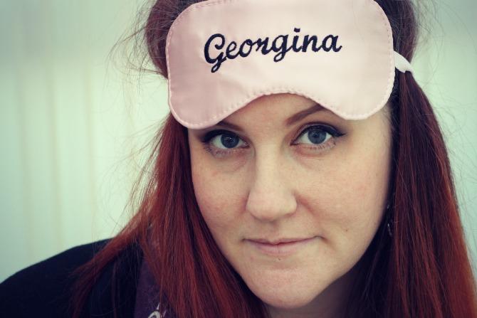 Me with my name on my sleeping mask :)
