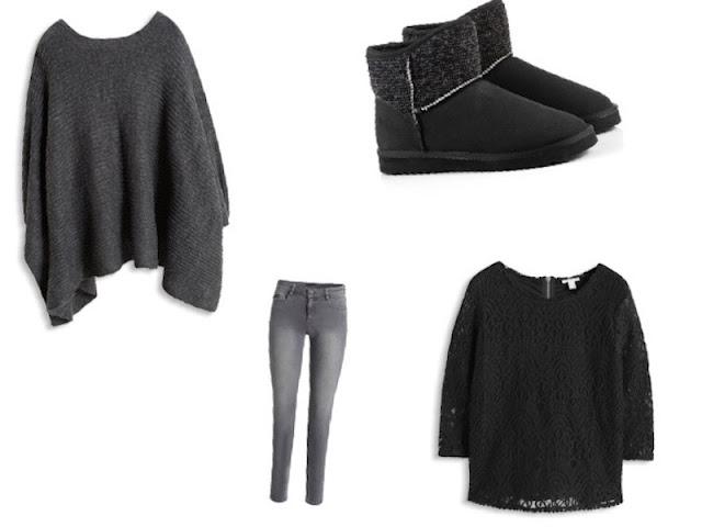 tenue poncho, jean, haut dentelle et bottines fourées ESPRIT