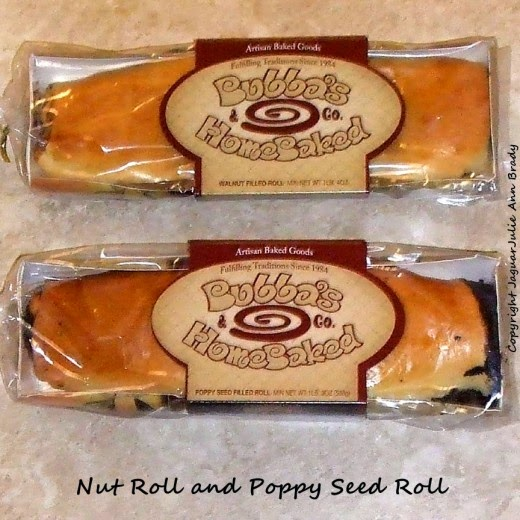 bubbas homebaked package of poppy seed and nut roll