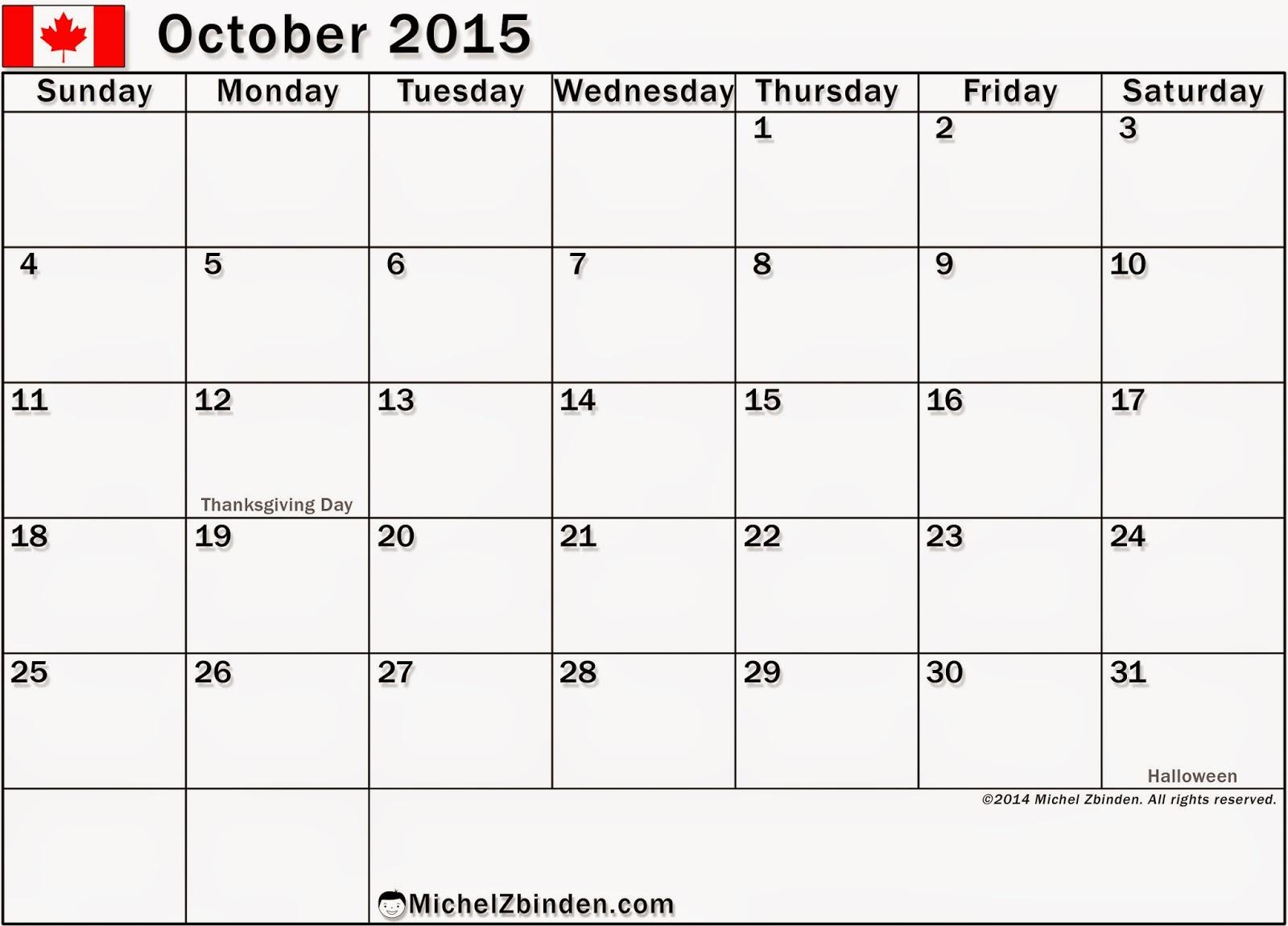 October 2014 calendar printable design