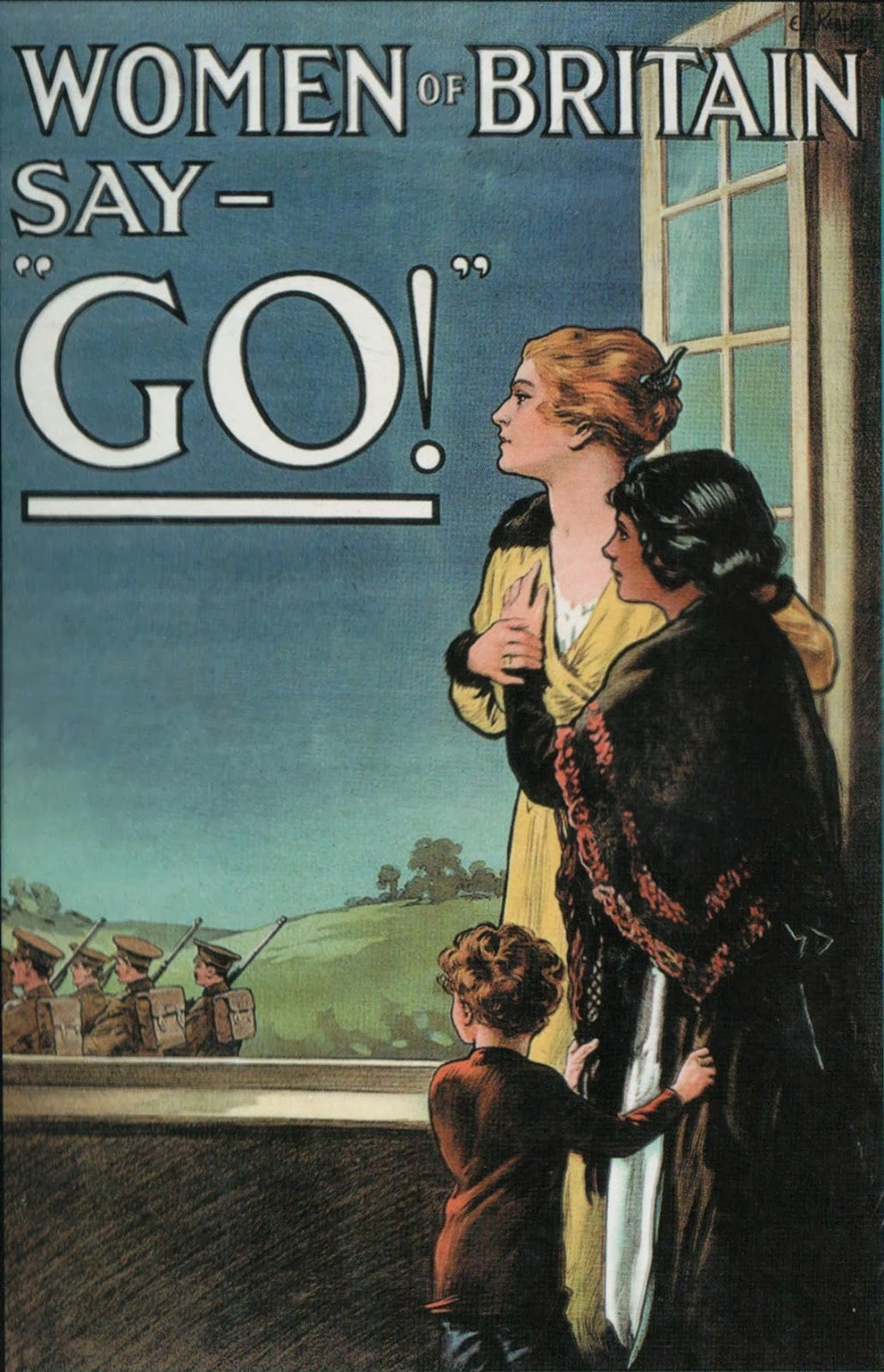 "WW1 poster ""Women of Britain say Go!"" - Two women in old fashioned dresses (one with a shawl around her shoulders) look out of a window at soldiers marching away.  A small child grasps the skirts of one of the women"