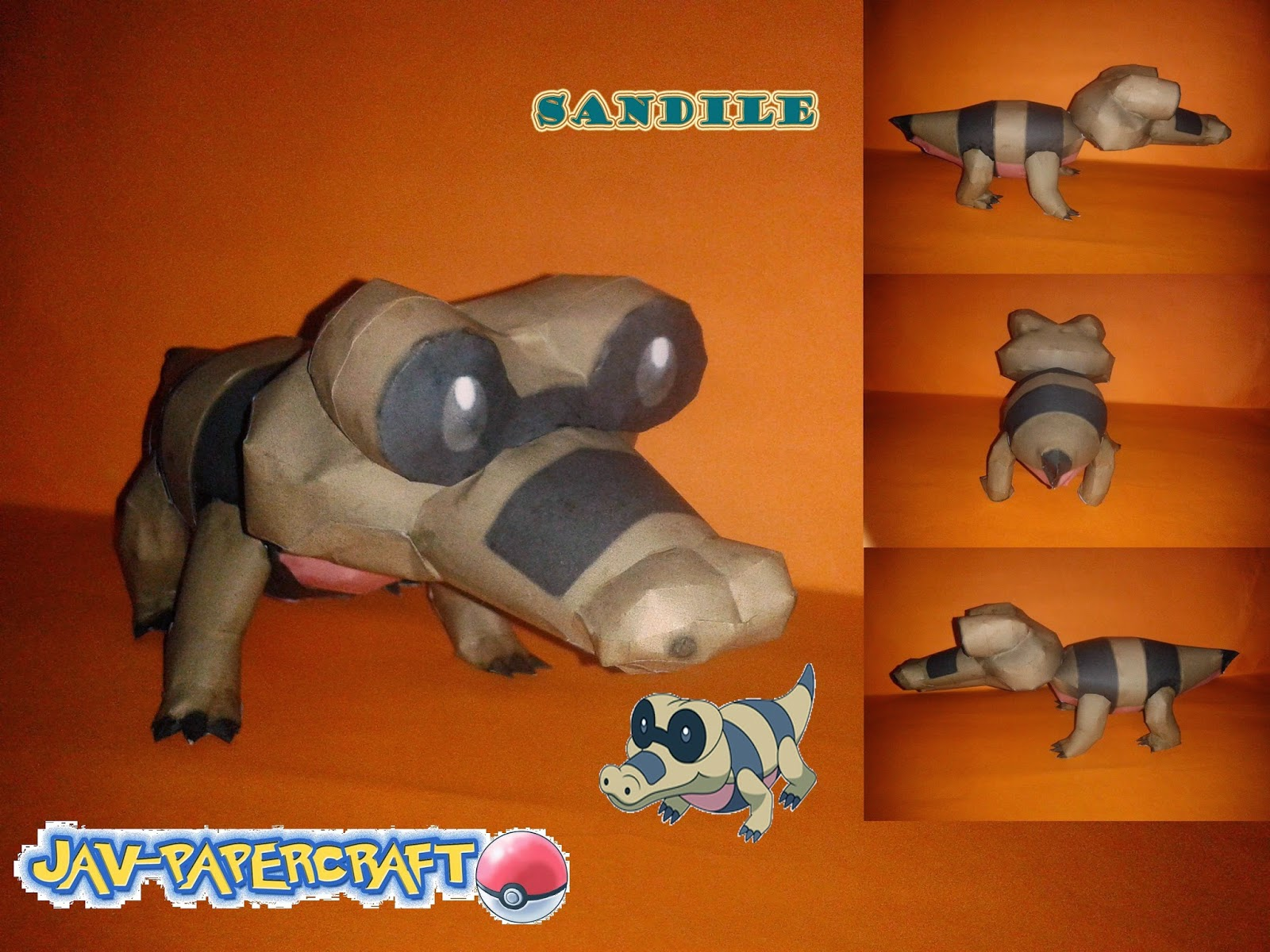 Pokemon Sandile Papercraft