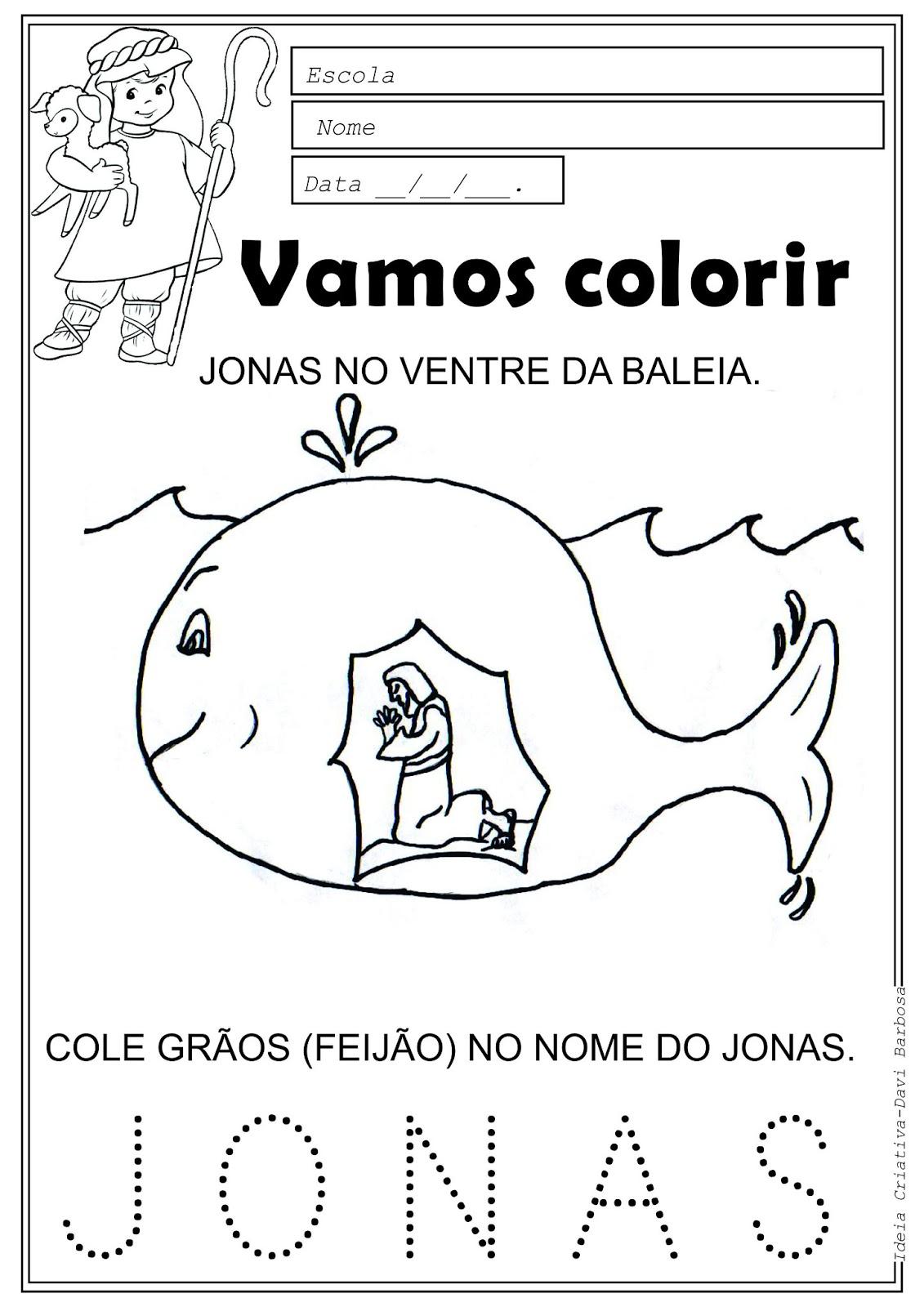 Desenho de Jonas no ventre da baleia para colorir