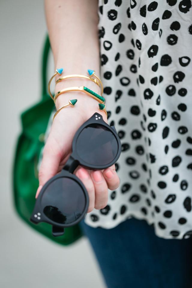modern polka dot top with black sunglasses M Loves M @marmar