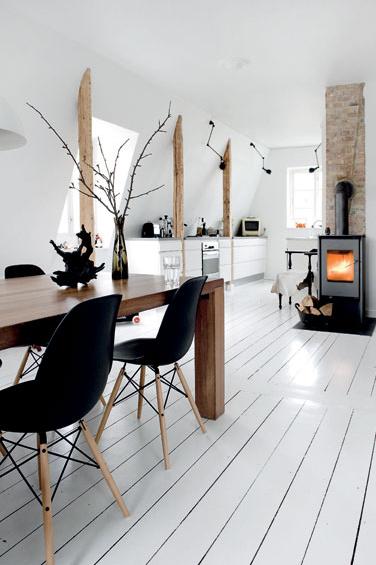 moderne wohnkuche in schwarz weiss