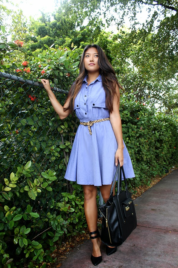 fashion blogger, miami fashion blogger, style by lynsee, lucky magazine, teen vogue, seventeen, popsugar, popsugar fashion, popsugar blogger, le tote, target belt, traffic shoe, phillip lim, 31 phillip lim, blue dress, chambray dress, sunday dress, summer dress, spring fashion 2014, spring trends 2014, black heels, black tote, black bag
