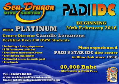 Next PADI IDC in Khao Lak starts 20th February
