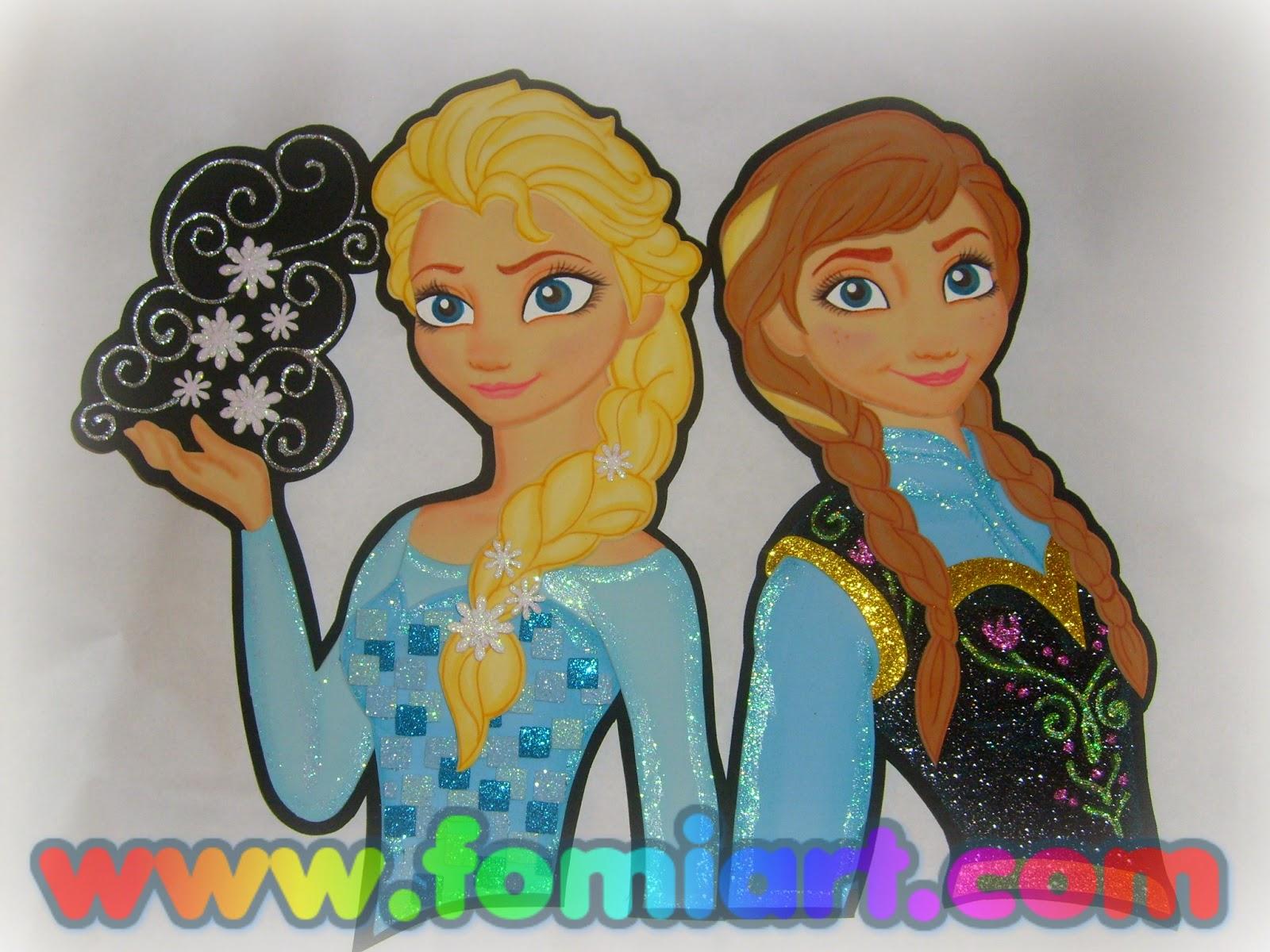 Elsa y Anna decorado en foami, goma eva